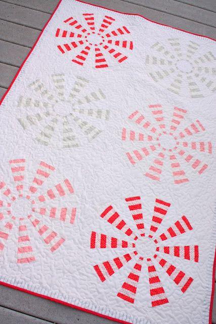 Peppermint Pinwheel Dresden Block Quilt