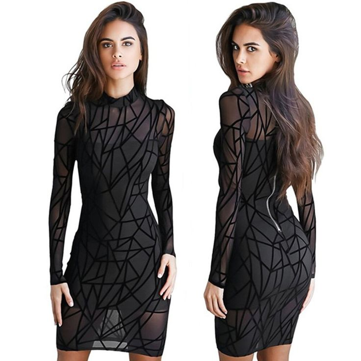 Temptress See Through Mesh Dress 2017 Summer Spring Womens Sexy Stripe Black Bodycon Mini Dress Nightclub Wear Casual Dress