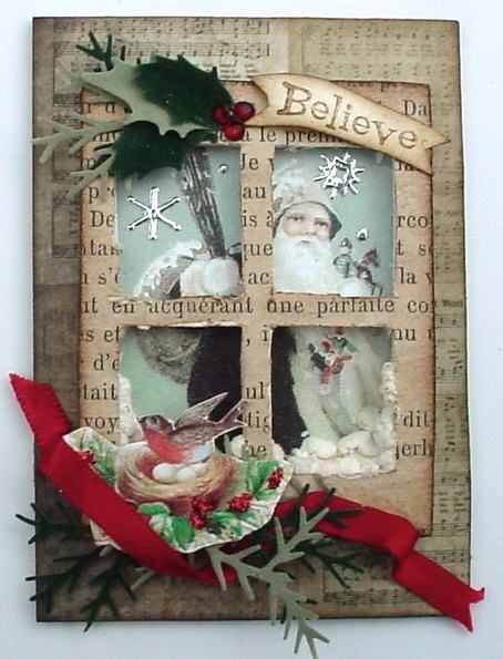 Grungy  Framed Window Card...with script paper & embellishments...Trash to Treasure Art: Santa's On His Way.