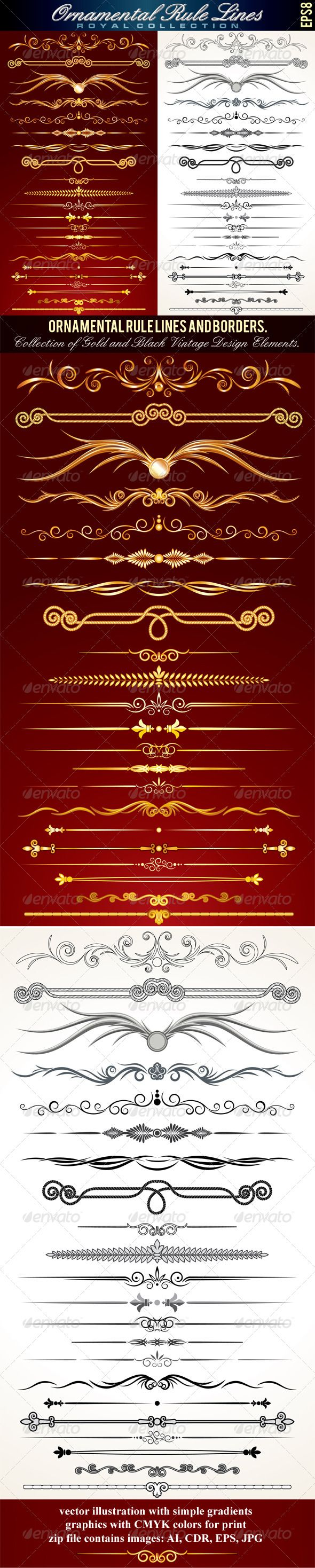 Ornamental Rule Lines  #GraphicRiver         Collection of Ornamental Rule Lines in Different Design Styles. Vector Set   - vector illustration with simple gradients   - vector graphics with CMYK colors for print   - zip file contains images: AI, CDR, EPS, JPG   Keywords: spiral, styles, floral, accent, background, deco, silhouette, fashion, graphics, isolated, tattoo, rule line, black, icon, filigree, wedding, antique, flourish, frame, premium       MORE VECTOR DESIGN ELEMENTS…