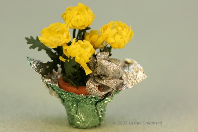 Make Tiny Chrysanthem Plants Sized for a Dollhouse: Use Simple Paper Punches to Make a Miniature Doll House Plant