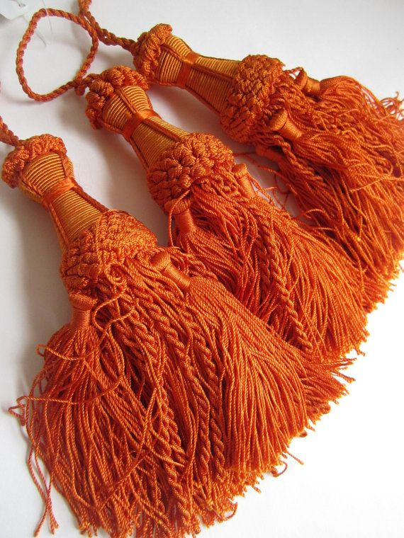 Orange Curtain Tassels Indian Home Decor Curtain by dreamworkshop