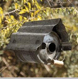 Galvanized Metal Repurposed Birdhouse