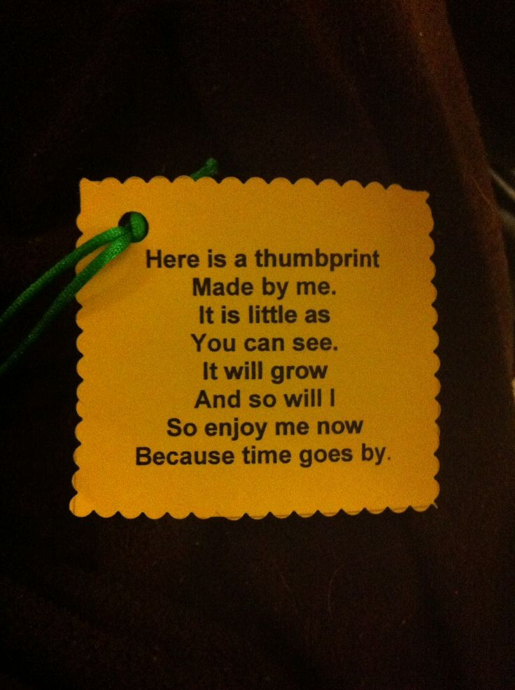 Great poem attached to a bell with child's thumbprint on it...wonderful Christmas gift for parents:)