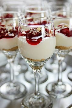 Cherry Cheesecake Shooters by Ree the Pioneer Woman ~T~ These are so good. She gives two versions. One using canned pie filling and one with a homemade filling of cherries and whiskey. The cream cheese and Sweetened Condensed Milk mixture is so good. Easy to prepare and delicious.