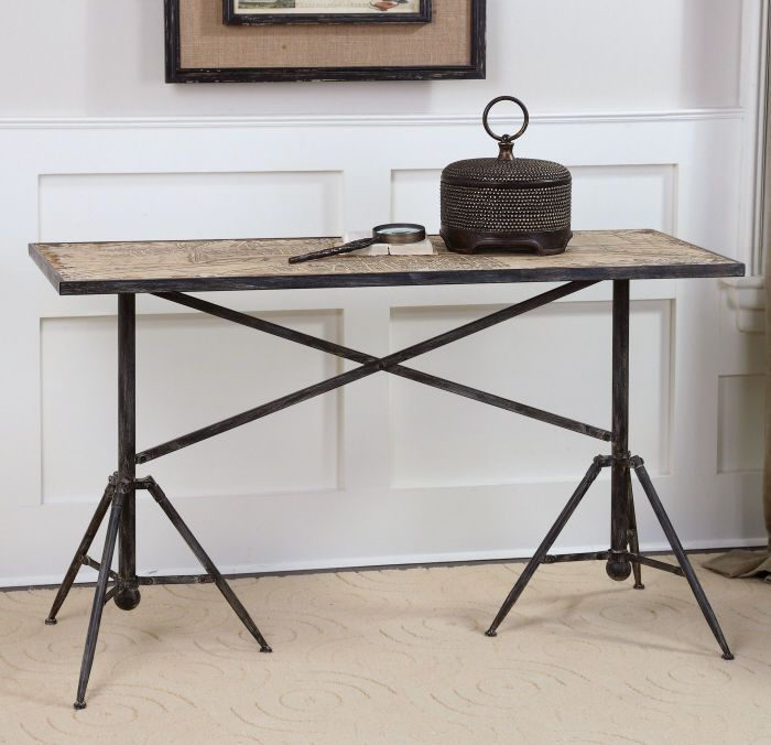 Industrial Vintage Paris Street Map Console Table Black Iron Base Weathered  Wood