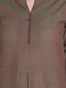 Green-Red Mangalgiri Kurta by Jaypore