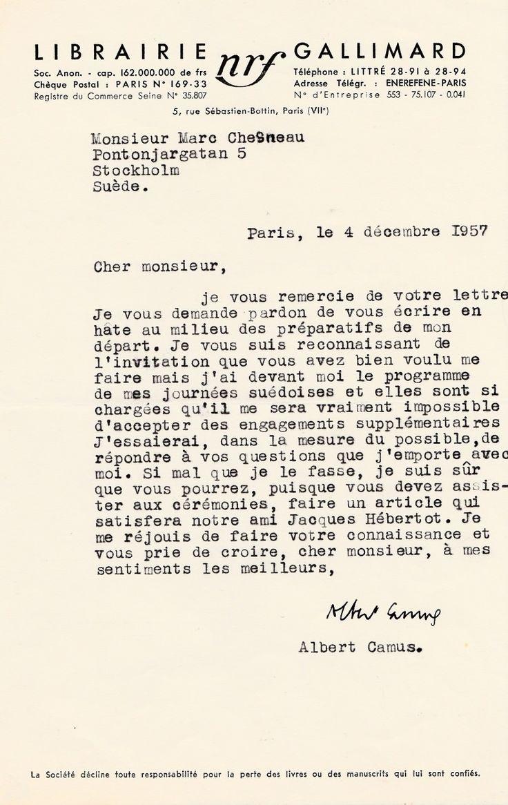 CAMUS Albert – Lettres signée concernant son prix Nobel de littérature