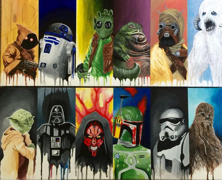 2 Star Wars acrylic paintings