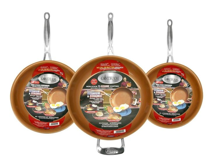 gotham steel 3piece nonstick frying pan set free us shipping - Frying Pans