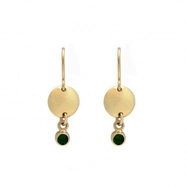 Gold Circle Drop Earrings with Chrome Dopside Stones by Benjamin Black Goldsmiths