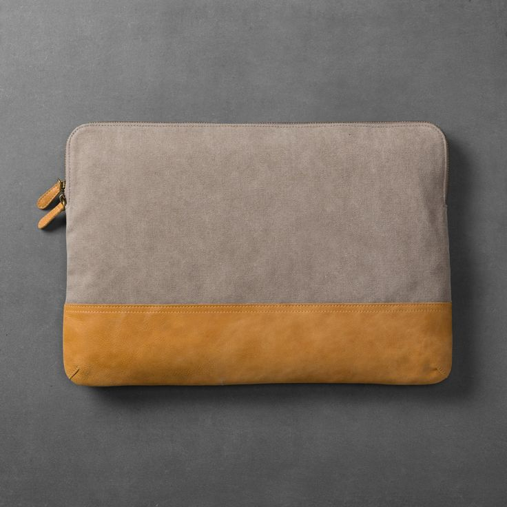 Canvas & Leather Laptop Pouch – Grey/Tan – Hearth & Hand with Magnolia, Gray
