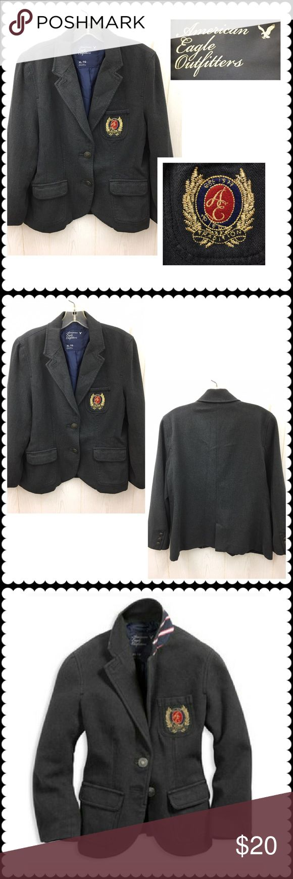 Herringbone blazer w/crest AMERICAN EAGLE Sz XL Dark gray herringbone print blazer by AMERICAN EAGLE. Lined. 2 button closure. 3rd pic is stock photo, 4th pic is for inspiration. Ladies size XL Excellent! American Eagle Outfitters Jackets & Coats Blazers