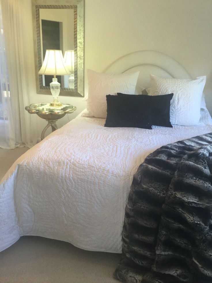 NEW!! White on white, pure cotton bedspread by Bianca Lorenne. Featuring chrysanthemums in intricate stitching. Available in all sizes this is a king size with 2 euros hams and 2 pillowshams. Buy now www.champagnelifestyletas.com.au