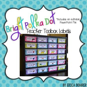 The file includes more labels than you actually need!   Pick and choose the ones you want to create your own custom teacher toolbox: push pins rubber bands binder rings glue sticks Post-Its paper clips eraser tops White-out binder clips bingo stampers highlighters hole punchers clips staple removers permanent markers chalk staples washi tape batteries clear tape punchers brads Band-Aids masking tape magnets stamps Box Tops ...