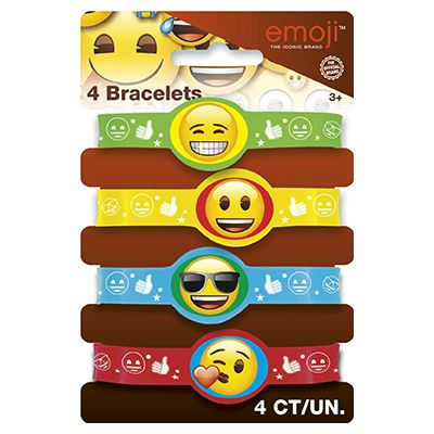 Emoji Rubber Bracelets - 4 Pk Party Supplies Canada - Open A Party