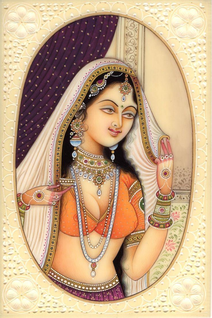 Indian Miniature Painting Rajasthani Lady Princess Handmade Portrait Ethnic Art