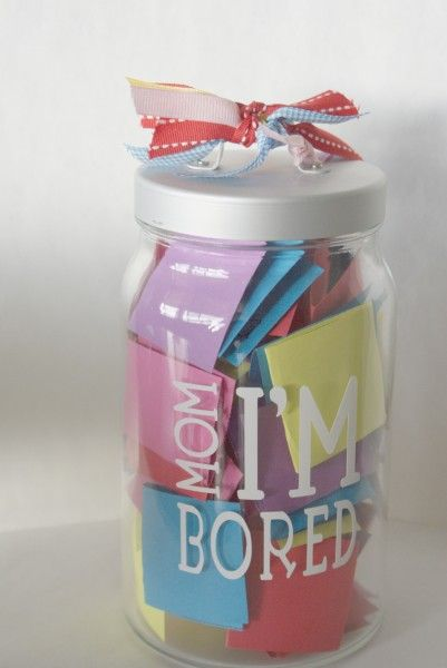 "The ""Mom, I'm Bored"" Jar...Some of the activities are fun, some of them are not, so before your kids decide to have you entertain them, they really need to decide if its worth it or not!  They might get ""Make cookies with Mom"", or they might get ""Pull weeds.""  They could get ""Play in the sprinklers"", or they could get ""Do a chore of Mom's choice!"""