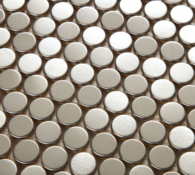 Stainless Steel Tile Backsplash Penny Round Brushed