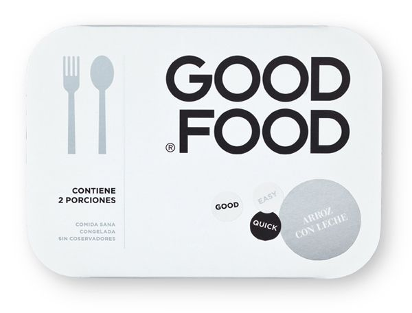 Convenience food packaging with sticker and silver metallic ink details for Good Food designed by Face.
