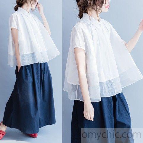 Cream layered patchwork tent blouse unique womens plus size top shirt