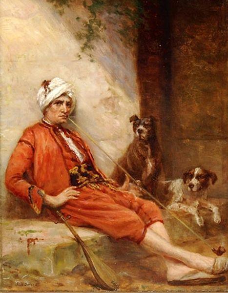 Middle Eastern Man Smoking Pipe