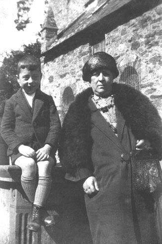 My father aged 7 yrs with his grandmother Harriet Newton (nee Edwards) on holiday in Isle of Man, England - 1926