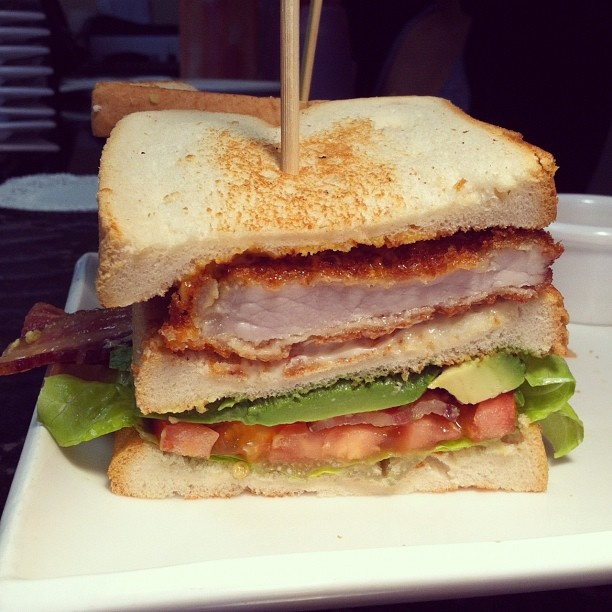 | Pork Tonkatsu Club w/ BLT, avocado & Japanese style BBQ sauce ...