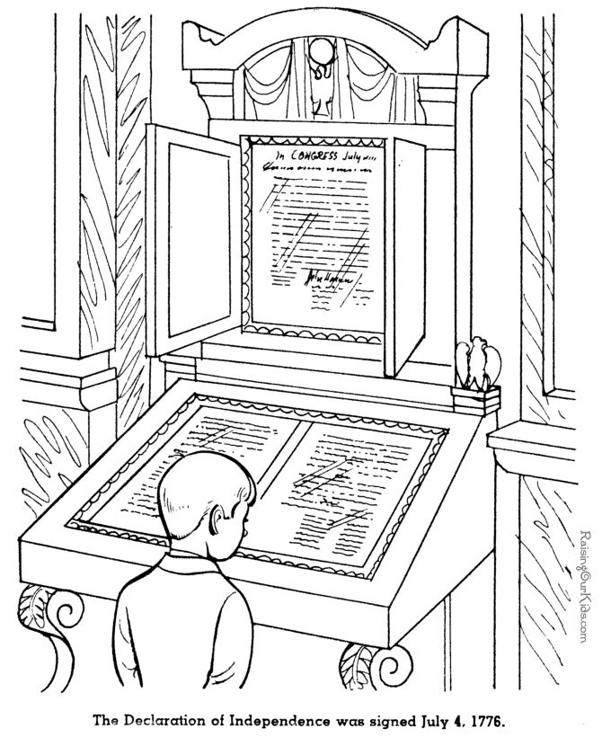 Declaration of Independence history pages for kid