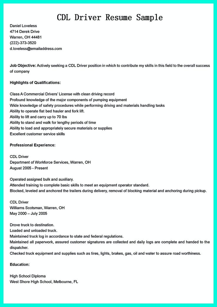 We understand that you really want the CDL driver job soon But - auxiliary operator sample resume