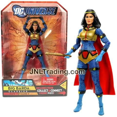 Mattel Year 2008 DC Universe Wave 7 Classics Series 6 Inch Tall Figure #5 - Variant No Helmet BIG BARDA with Mega-Rod and Atom Smasher Left Arm