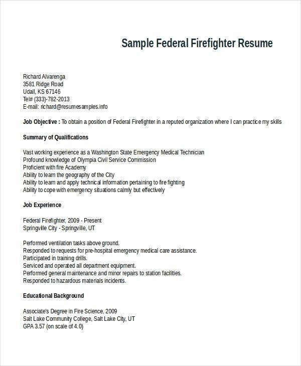 7 Firefighter Resume Templates Pdf Doc Free Premium