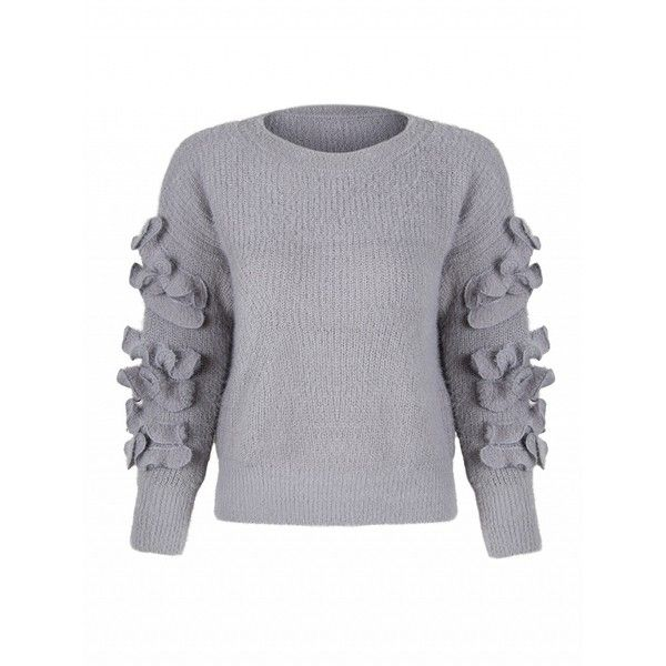 Choies Gray Frill Embellished Fluffy Knitted Sweater (€30) ❤ liked on Polyvore featuring tops, sweaters, grey, embellished sweaters, flutter-sleeve top, grey top, gray top and frill top