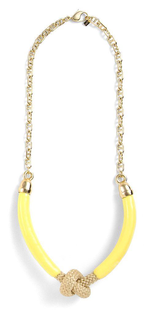Brookside Necklace in Lemon: Brooksid Knot, Style, Knot Necklaces, Yellow Necklaces, Accessor, Brooksid Necklaces, Gold Knot, Lemon Necklaces Lov, Nautical Knots