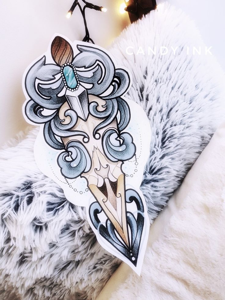 #neo #traditional #bird #skull #knife #design #ornament #diamond