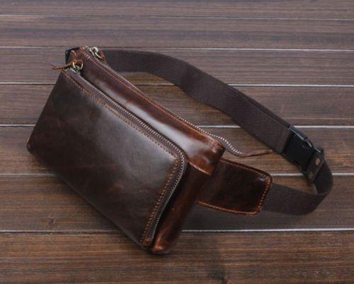 Men Genuine Leather Vintage Sling Chet Cell Phone Hip Belt Fanny Pack Waist Bag | eBay