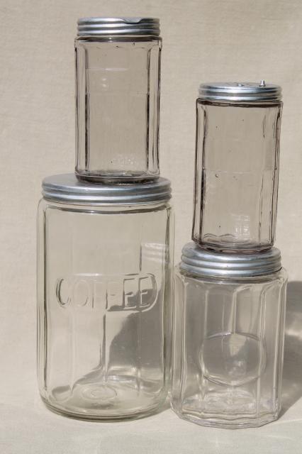 Vintage Hoosier Jars, Depression Glass Kitchen Canisters For Coffee, Tea,  Spice Jar Su0026P