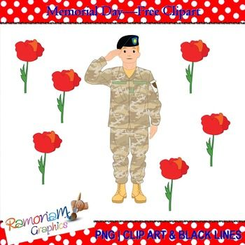 FREE Memorial Day Clip art in PNG format and 300dpi. Lest we forget!