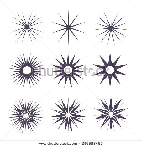 Geometric Shapes and Light Ray Collection. Hipster Style Frames. Great for retro style projects. starburst radial shape, shine decoration stamp, starburst line, starburst symbol glitter, starburst sun