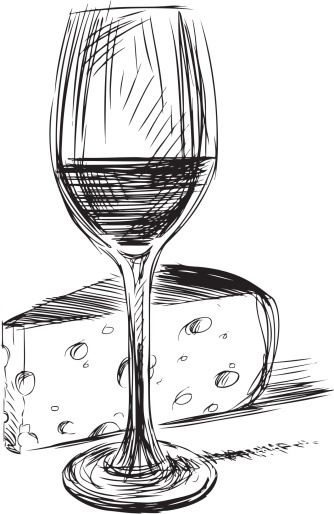 "Wine and Cheese. Could easily make this into a tattoo, and work in the phrase ""in vino veritable"""