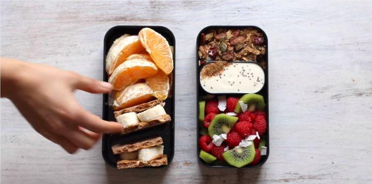 iaurt, granola gatit , fructe proaspete (kiwi, capsuni)  paine presata cu peanut butter si banane portocale