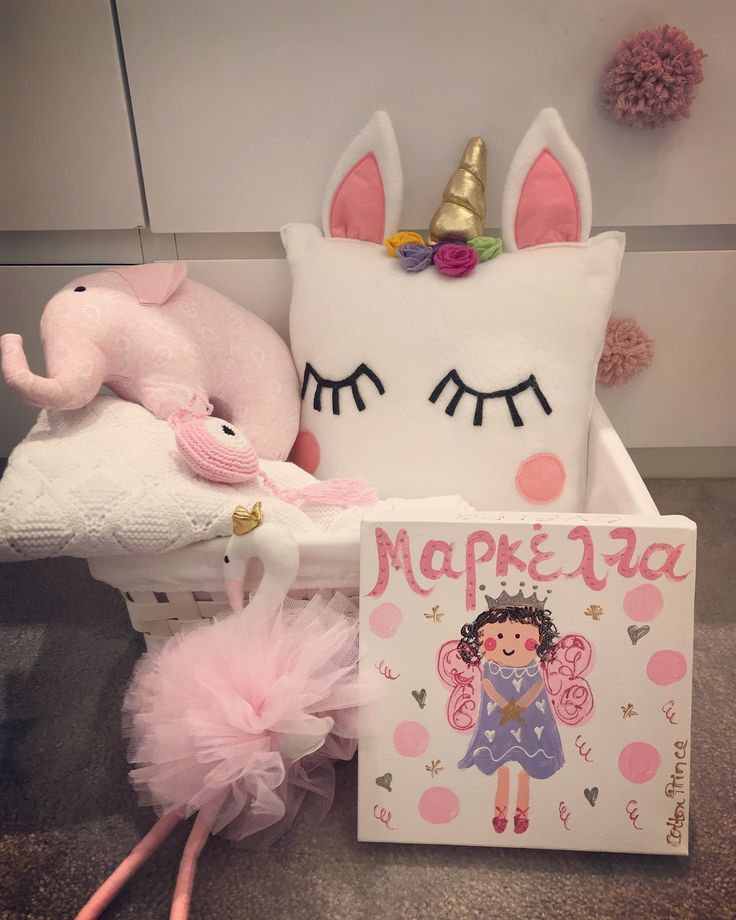 New baby basket! Unicorn pillow- pink tulle flamingo-personalised painting-crochet evileye charm-baby blanket& soft elephant toy! All handmade in Greece by cottonprince.gr