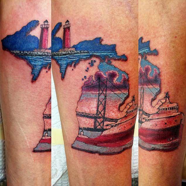 State of Michigan Mackinac Bridge tattoo