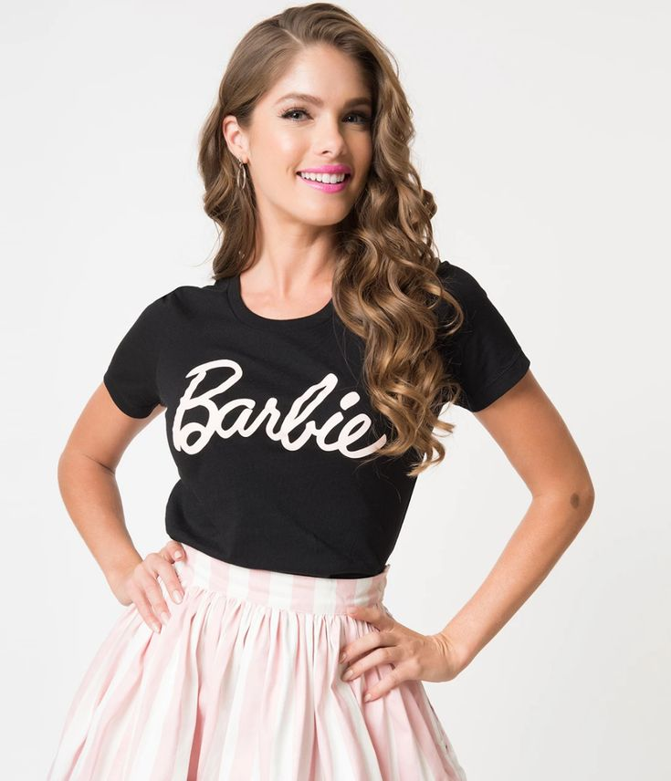 Barbie x Unique Vintage Black Barbie Logo Women's Tee 15