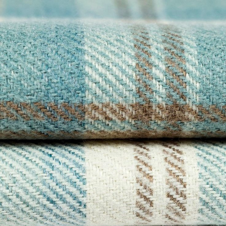 Heritage Wool Look Tartan Check Fabric - Duck Egg Blue #coastalbedroomsblue