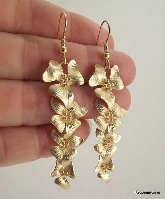 Cascading Gold Flower Earrings Long Accessorize Me Pinterest Jewelry And Metal