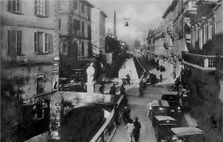Porta Romana, il ponte sul naviglio visto dallo sbocco di via San Calimero, anni '20 | da Milàn l'era inscì