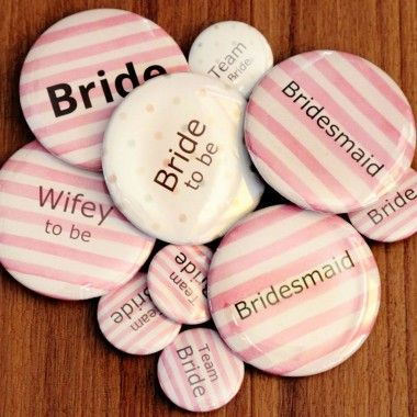 Pink and white stripe badges are a chic and fun accessory for your hen party. Customise the wording for €6 more. Available in The Hen Planner Boutique #hen #party #accessories #unique #stylish #classy #pink #badges #ideas #fun #alternative #cute #inspiration #hens #night #bridal #shower