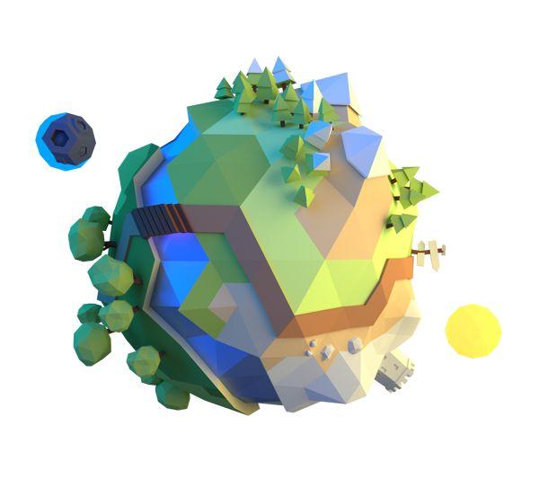 Little planet by Alex Pushilin, via Behance