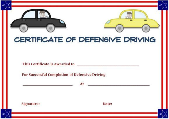 Defensive Driving Certificate Of Completion Certificate